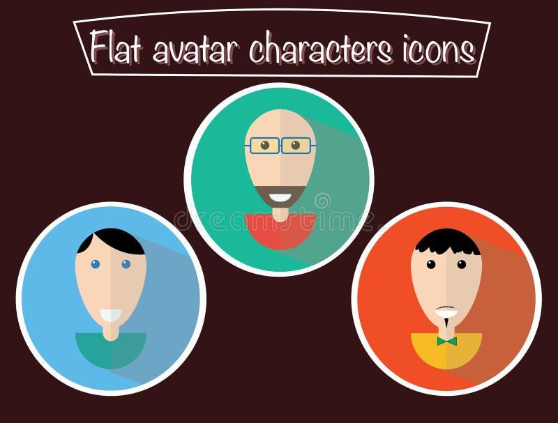 Avatars lisos Caráteres do ícone com olhos Indivíduos de sorriso Retratos felizes, desenhos animados ilustração do vetor