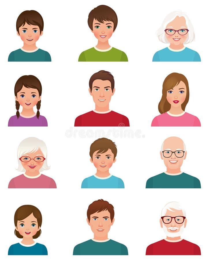 Avatars ludzie różni wieki royalty ilustracja