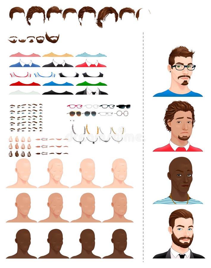 Avatars mâles illustration de vecteur