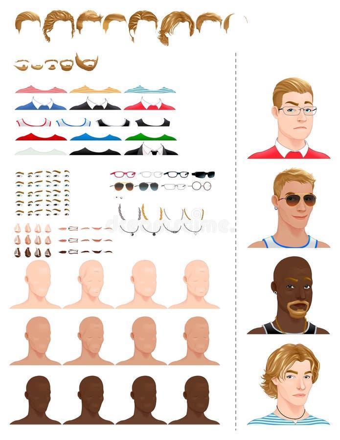 Avatars mâles illustration libre de droits