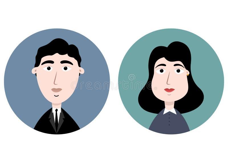 Avatars mężczyzna i kobieta w garniturze ilustracji