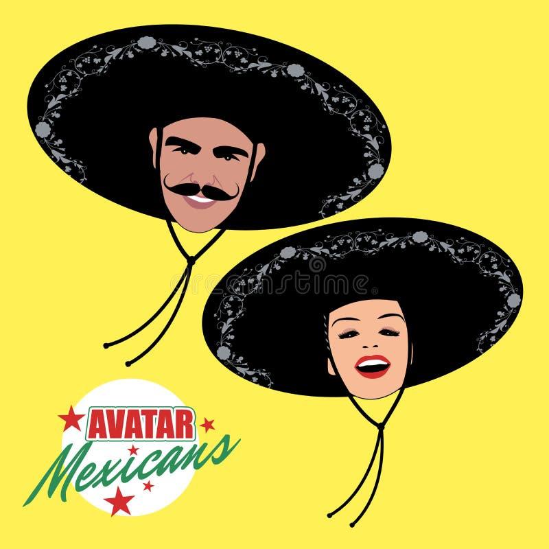 Avatars mężczyzna z wąsy i ładną kobietą jest ubranym meksykańskiego kapelusz ilustracji