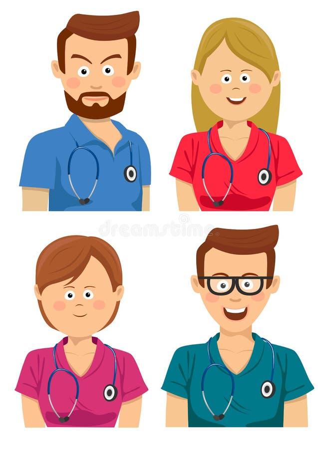 Avatars młodzi szpitalni pracownicy w stubarwnych pętaczkach ilustracji