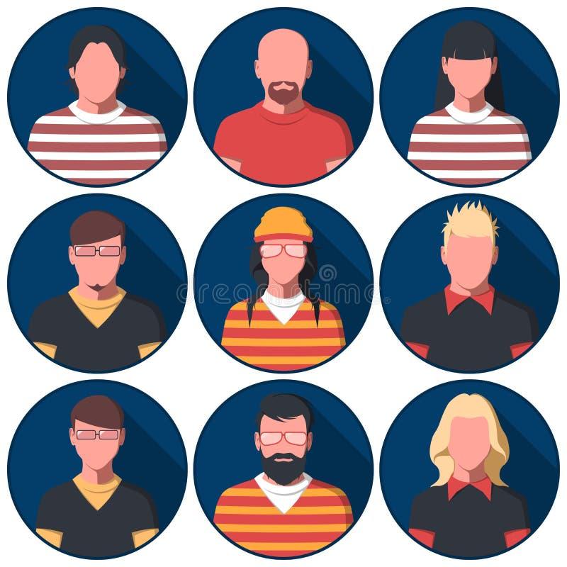 Avatars masculins et féminins des personnes dans des vêtements sport illustration libre de droits