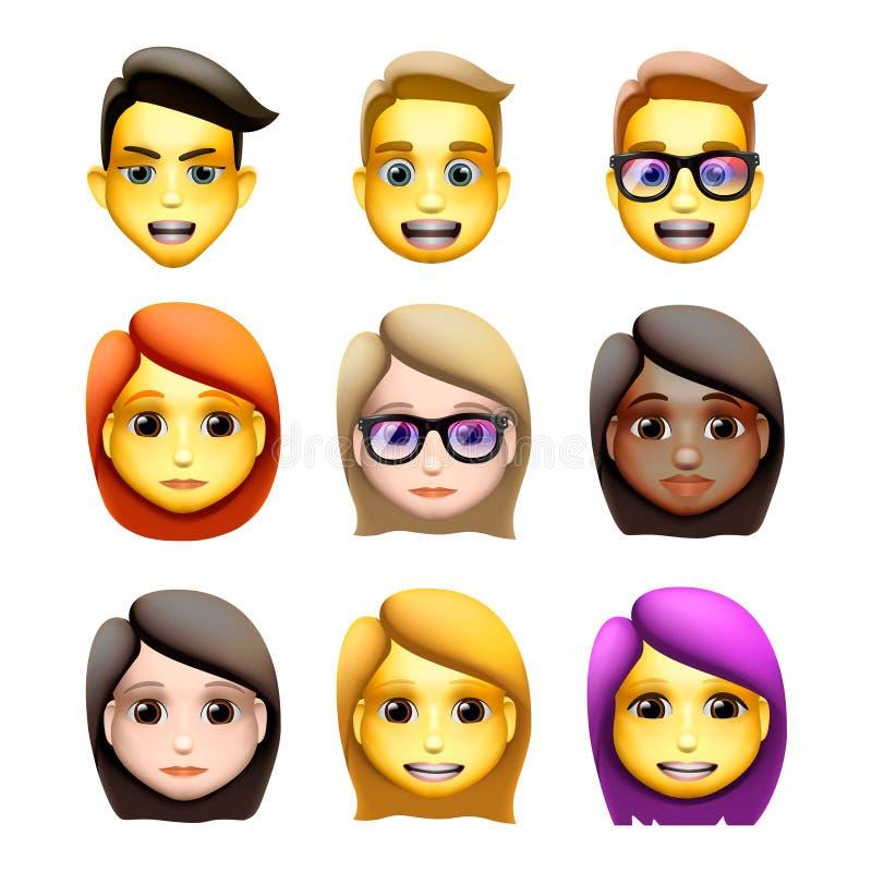 Avatars no estilo dos desenhos animados, ícones dos caráteres do emoji, animoji, ilustração do vetor ilustração royalty free