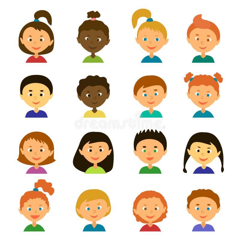 avatars Personnages de dessin animé Style plat illustration libre de droits