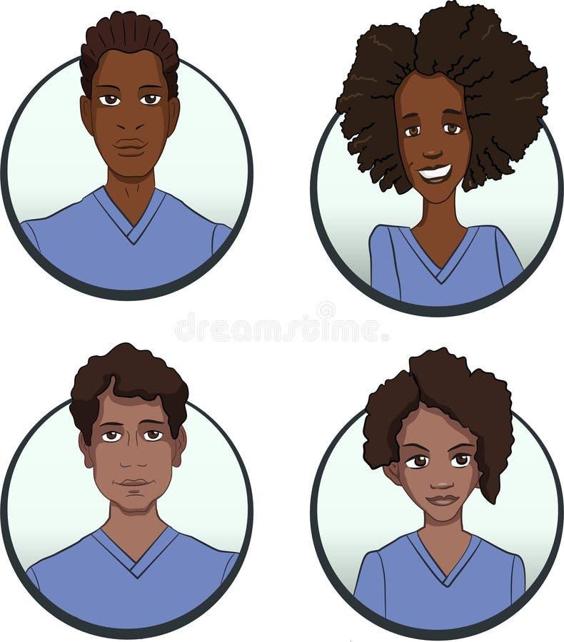 Avatars persons różne narodowości są wieloetnicznymi wizerunkami ludzie royalty ilustracja