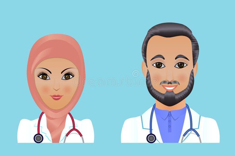 Avatars plats de personnel de clinique médicale des médecins, infirmières, chirurgienne, a illustration stock