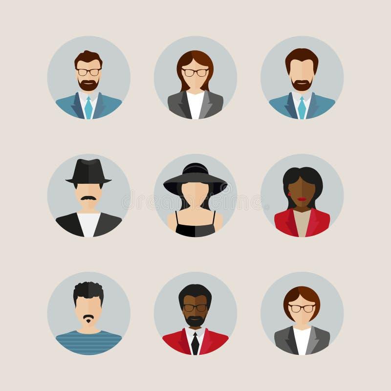 Avatars plats modernes de vecteur Icônes masculines et femelles d'utilisateur illustration stock
