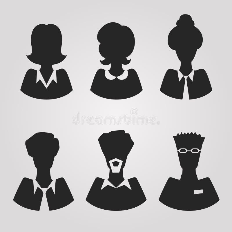 Avatars réalistes de silhouete illustration stock