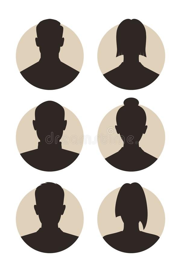 Avatars abstract people. Set signs mens and womens avatars. Icons male and female silhouettes. Profiles abstract people. Unknown or anonymous persons. Vector vector illustration