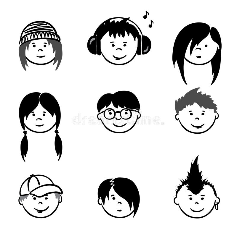 Download Avatars - Teenagers stock vector. Image of head, collection - 20965988