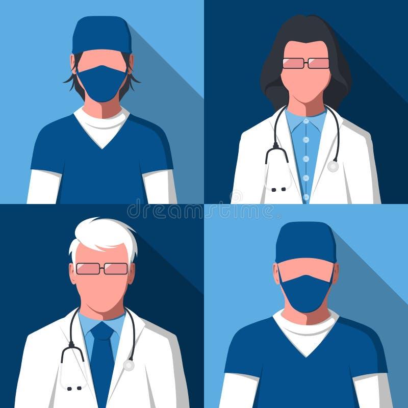 Avatars van mannelijke en vrouwelijke silhouetten van artsen en verpleegsters stock illustratie
