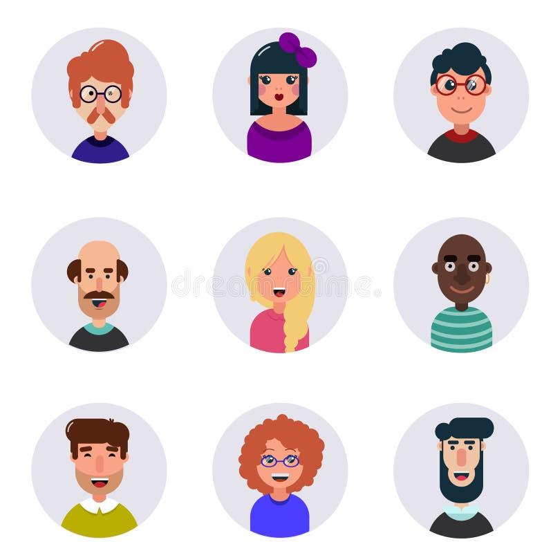 avatars Verschillende menselijke gezichten Leuke en grappige mensen royalty-vrije illustratie