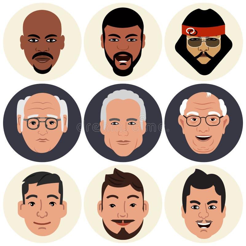 avatars Visages mâles illustration stock