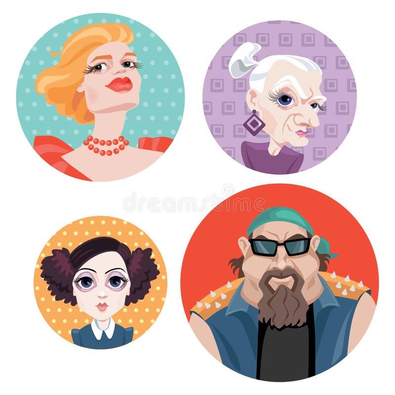 Avatars w kreskówka stylu royalty ilustracja