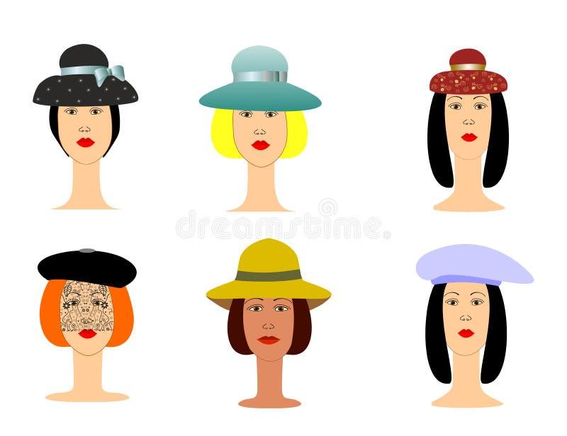 Avatars zijn zes meisjes in hoeden vectorillustratie stock illustratie