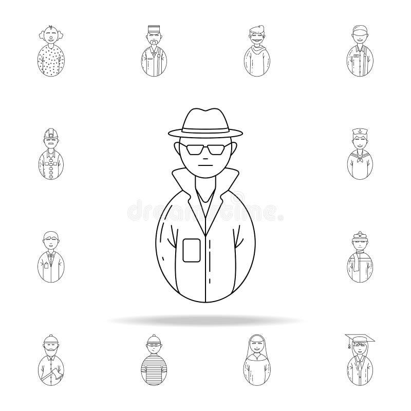 avatarskriminalaresymbol Universell uppsättning för Avatarssymboler för rengöringsduk och mobil vektor illustrationer