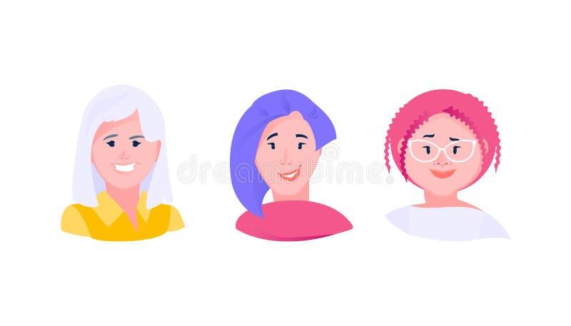 Avatarskvinnauppsättning vektor illustrationer