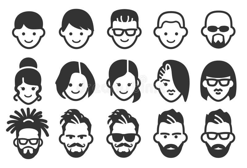 Avatarsymboler 2 vektor illustrationer