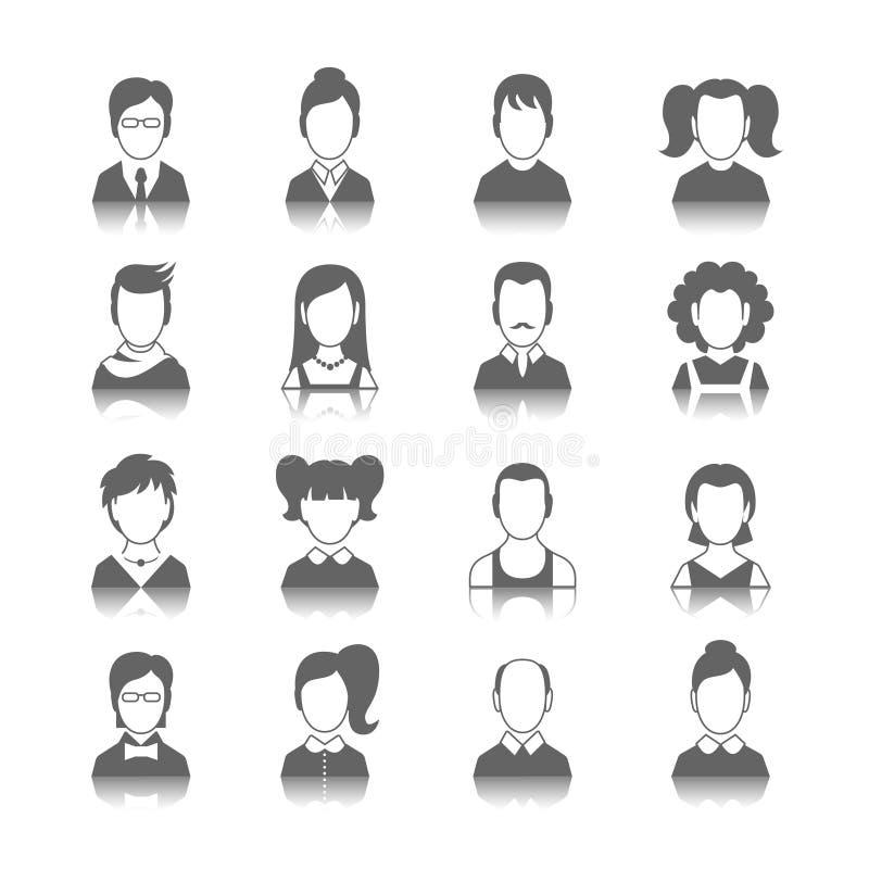 Avatarsymbolsuppsättning royaltyfri illustrationer