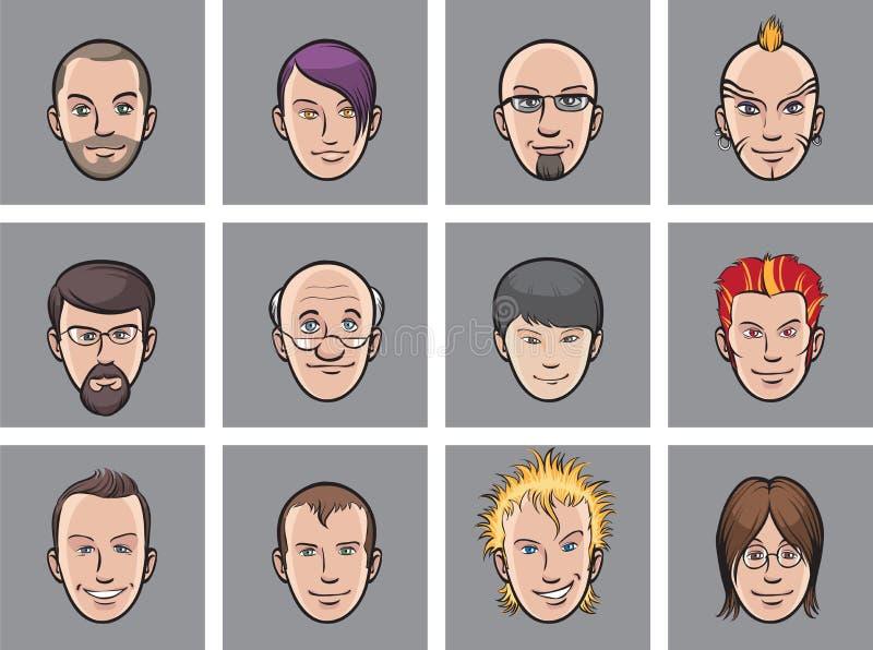 avatartecknad film vänder olika män mot stock illustrationer