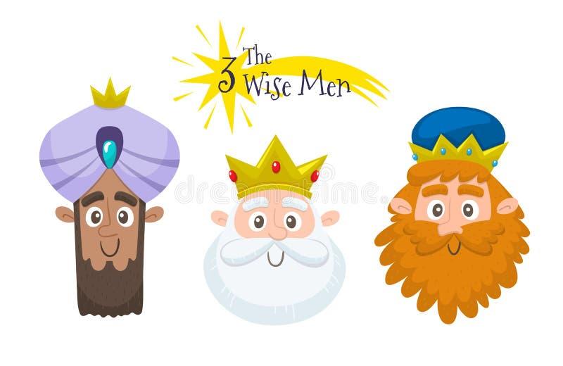 Avataruppsättning för tre kloka män stock illustrationer