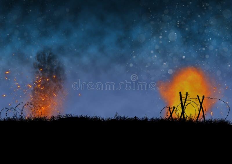 Avbilda ett kriglandskap på natten royaltyfri illustrationer