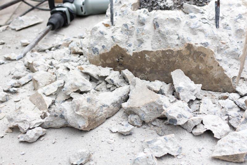 Avbrott av betong, drillborr arkivbild