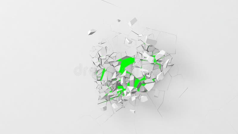 Avbrott av den vita väggen Bakgrund för grön färg royaltyfri illustrationer