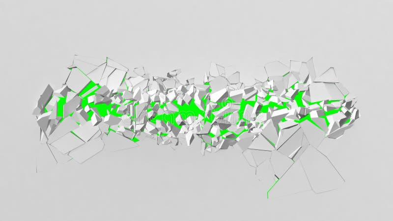 Avbrott av den vita väggen med lätt att byta ut bakgrund för grön färg stock illustrationer