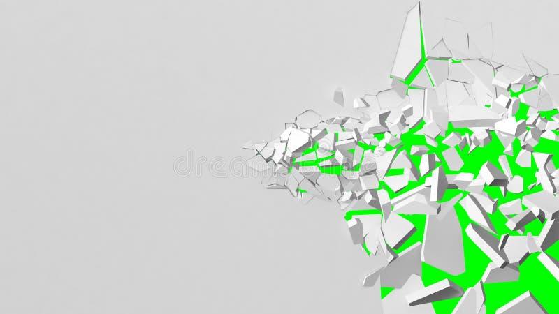 Avbrott av den vita väggen med lätt att byta ut bakgrund för grön färg royaltyfri illustrationer