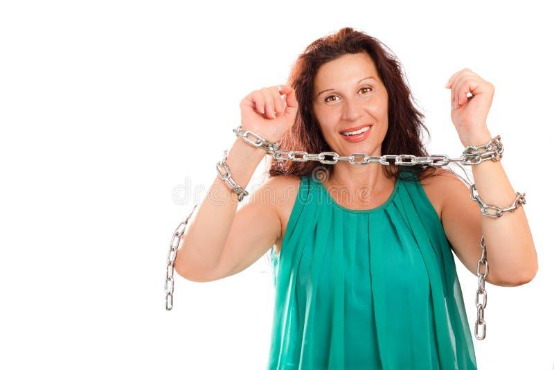 avbrott av kedjekvinnan arkivfoton