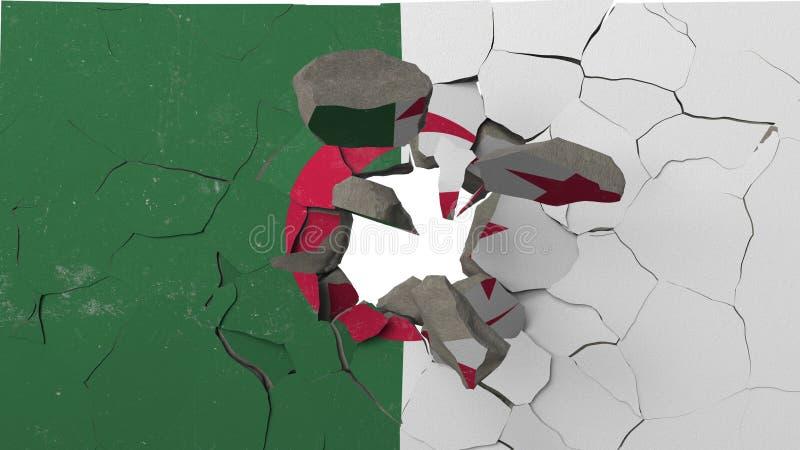 Avbrott av väggen med den målade flaggan av Algeriet Begreppsmässig tolkning 3D för algerisk kris royaltyfri illustrationer