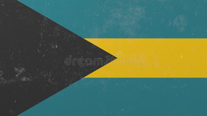 Avbrott av väggen med den målade flaggan av Bahamas Begreppsmässig tolkning 3D för bahamansk kris stock illustrationer