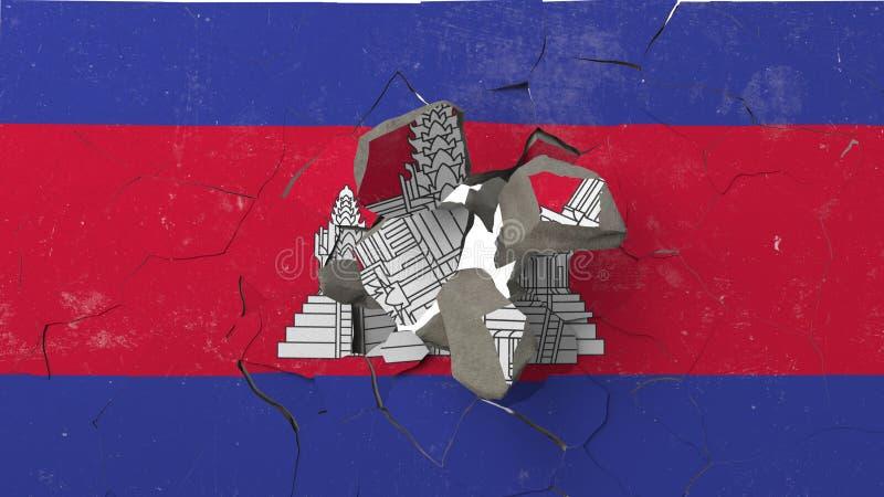 Avbrott av väggen med den målade flaggan av Cambodja Begreppsmässig tolkning 3D för kambodjansk kris stock illustrationer