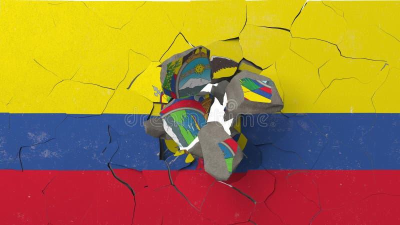 Avbrott av väggen med den målade flaggan av Ecuador Begreppsmässig tolkning 3D för ecuadoriansk kris royaltyfri illustrationer