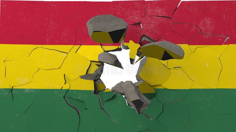 Avbrott av väggen med den målade flaggan av Ghana Begreppsmässig tolkning 3D för ghanansk kris stock illustrationer