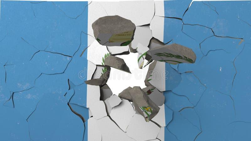 Avbrott av väggen med den målade flaggan av Guatemala Begreppsmässig tolkning 3D för guatemalansk kris vektor illustrationer