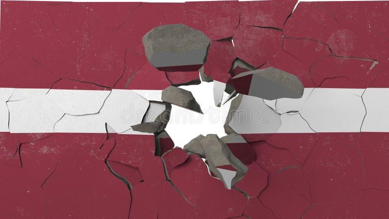 Avbrott av väggen med den målade flaggan av Lettland Begreppsmässig tolkning 3D för lettisk kris stock illustrationer