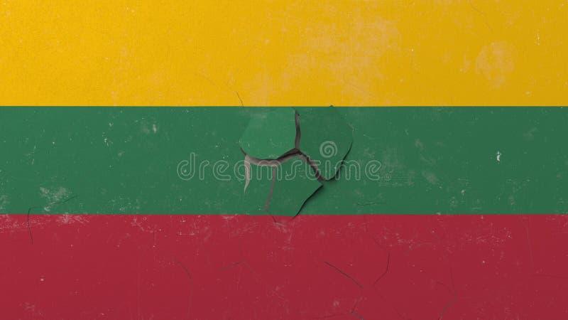 Avbrott av väggen med den målade flaggan av Litauen Begreppsmässig tolkning 3D för litauisk kris vektor illustrationer