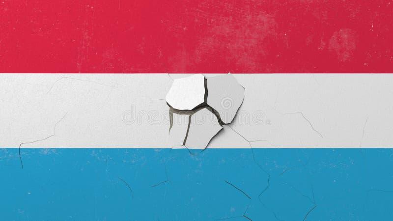 Avbrott av väggen med den målade flaggan av Luxembourg Begreppsmässig tolkning 3D för luxemburgsk kris royaltyfri illustrationer