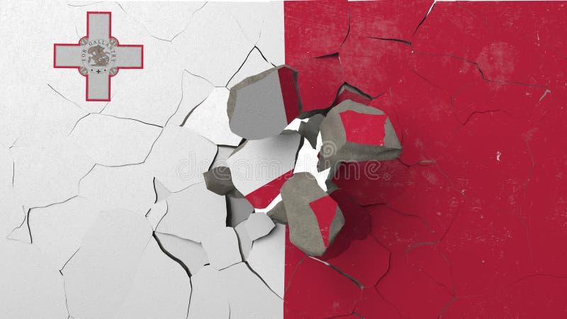 Avbrott av väggen med den målade flaggan av Malta Begreppsmässig tolkning 3D för maltesisk kris vektor illustrationer
