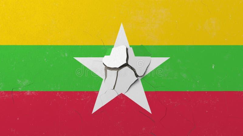 Avbrott av väggen med den målade flaggan av Myanmar Begreppsmässig tolkning 3D för Myanma kris royaltyfri illustrationer