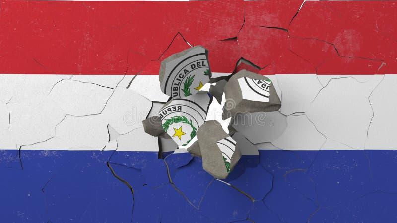 Avbrott av väggen med den målade flaggan av Paraguay Begreppsmässig tolkning 3D för paraguayansk kris vektor illustrationer