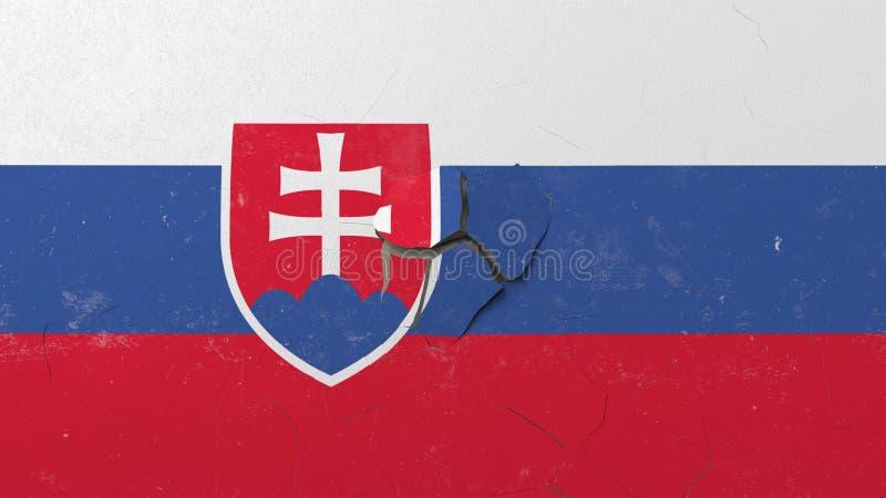 Avbrott av väggen med den målade flaggan av Slovakien Begreppsmässig tolkning 3D för slovakisk kris vektor illustrationer