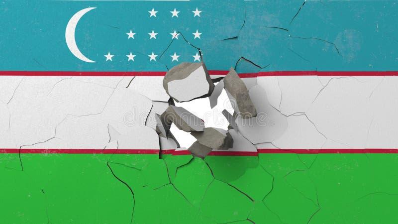 Avbrott av väggen med den målade flaggan av Uzbekistan Begreppsmässig tolkning 3D för uzbekisk kris vektor illustrationer