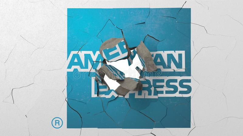 Avbrott av väggen med målad logo av American Express Krisen gällde den redaktörs- tolkningen 3D vektor illustrationer