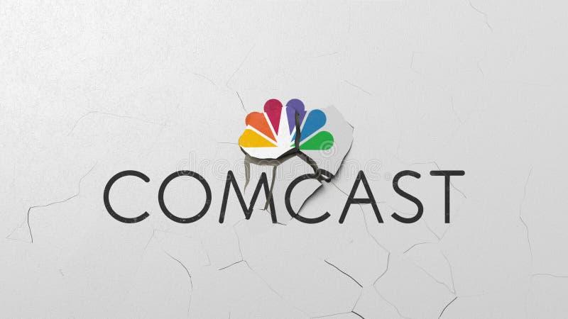 Avbrott av väggen med målad logo av den Comcast krisen gällde den redaktörs- tolkningen 3D vektor illustrationer