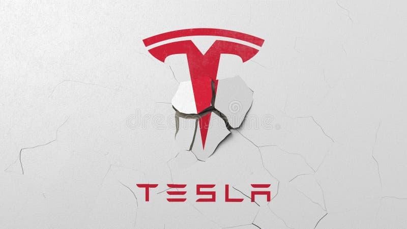 Avbrott av väggen med målad logo av Tesla Krisen gällde den redaktörs- tolkningen 3D stock illustrationer